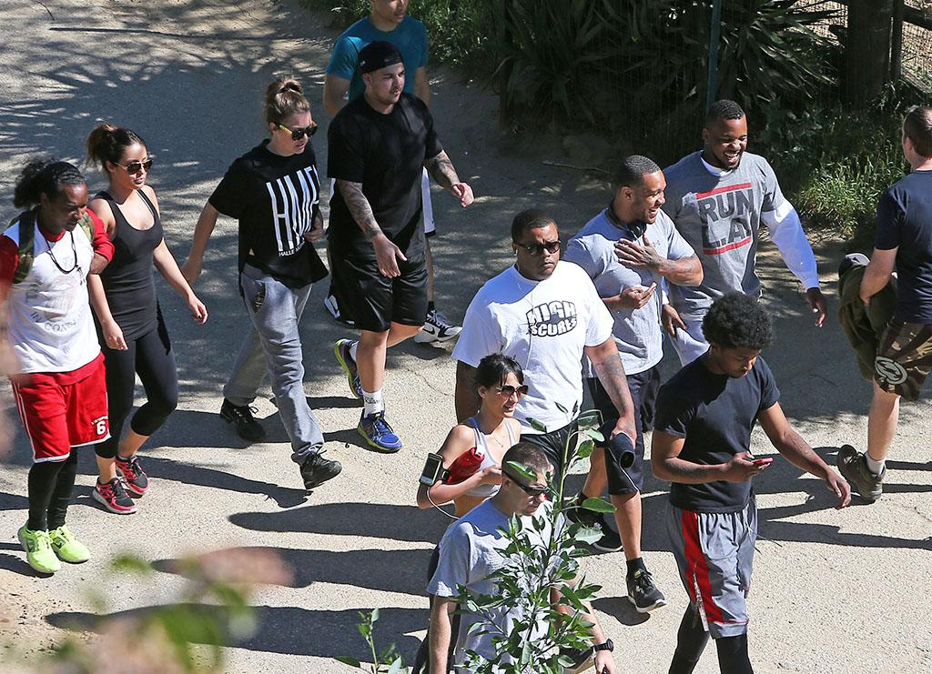 Exclusive... 51023601 Reality star Rob Kardashian attempts to sweat off some pounds with friends on February 25, 2013 at Runyon Canyon in Los Angeles, California. Rapper 'The Game' was also hiking with his friends as well. FameFlynet, Inc - Beverly Hills, CA, USA -  1 (818) 307-4813