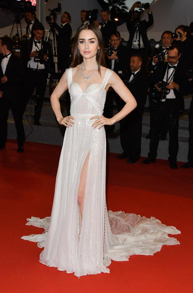 <p>Lily Collins's white chiffon gown made her look like a blushing bride at the <em>Okja </em>premiere. (Photo: George Pimentel/WireImage) </p>