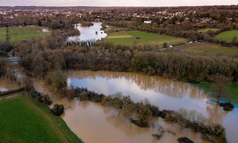 Aerial view of the flooded River Mole in Leatherhead, Surrey, after days of heavy rain from Storm Dennis.