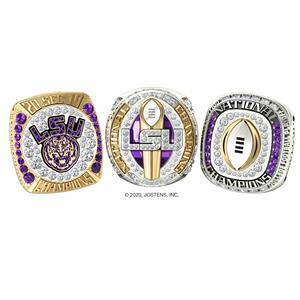 Three championship rings celebrating LSU's 2019 football season, designed and produced by Jostens.