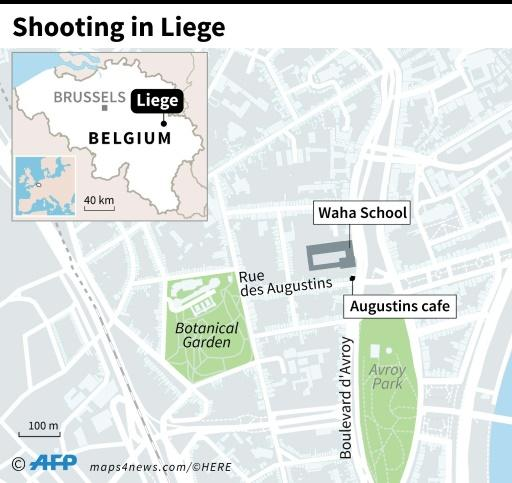 Map of Liege, Belgium, locating gun attack