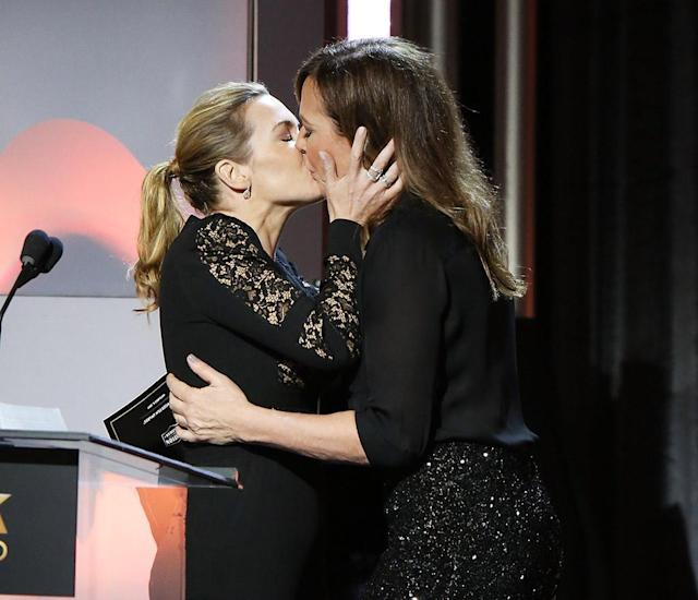 "<p>While accepting the award for Hollywood Actress at the 21st Annual Hollywood Film Awards on Sunday, the <em>Wonder Wheel</em> star gushed about her fellow actress Allison Janney. ""Allison, I know I don't really know you, but I just want to be you,"" Winslet said. ""I do. Or just stroke you or something. I mean, we could always kiss, maybe."" Janney didn't need to hear anything else and rushed the stage to plant one on Kate. After the smooch, a flustered Winslet could only finish her speech with, ""Thank you very much. Now I'm a little bit breathless!"" (Photo: Michael Tran/FilmMagic) </p>"
