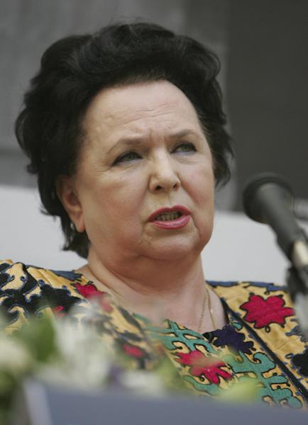 In this photo taken on Tuesday, Sept. 18, 2007, Galina Vishnevskaya speaks to the media in Moscow, Russia. Russian opera diva Galina Vishevskaya, who conquered audiences all over the world with her rich soprano, has died. She was 86. Moscow's Opera Center, which Vishnevskaya created, said the singer died Tuesday in the Russian capital. It didn't give the cause. (AP Photo/Sergei Grits)