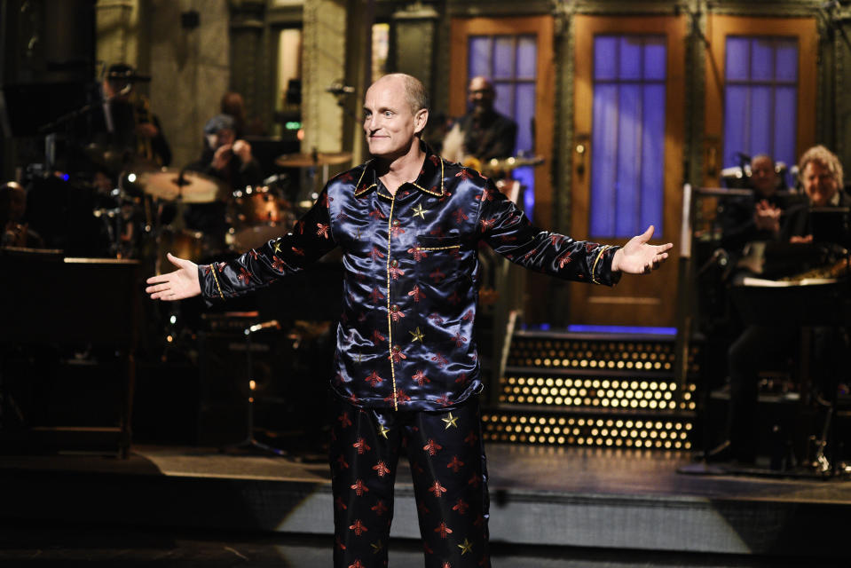 """SATURDAY NIGHT LIVE -- """"Woody Harrelson"""" Episode 1768 -- Pictured: Host Woody Harrelson during the Monologue on Saturday, September 28, 2019 -- (Photo by: Will Heath/NBC/NBCU Photo Bank via Getty Images)"""