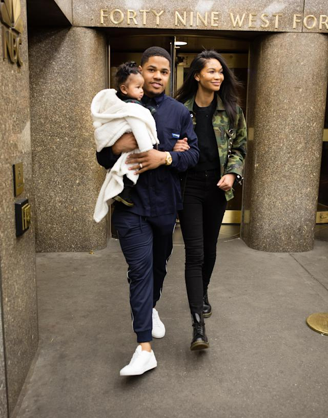 NFL Giants Wide Receiver Sterling Shepard, model and wife Chanel Iman and daughter Cali Clay Shepard leave the Christian Siriano show during New York Fashion Week on February 9, 2019 in New York City. (Photo by Donell Woodson/Getty Images)