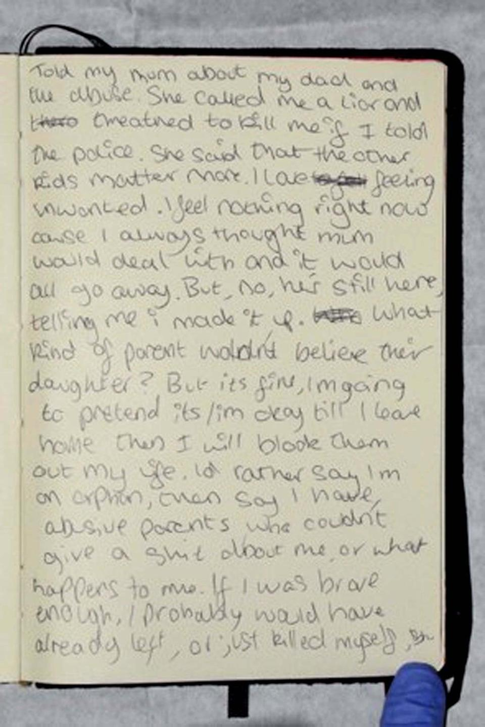 A diary entry in Bernadette Walker's notebook says her mother called her a 'liar' (Cambridgeshire Police/PA) (PA Media)