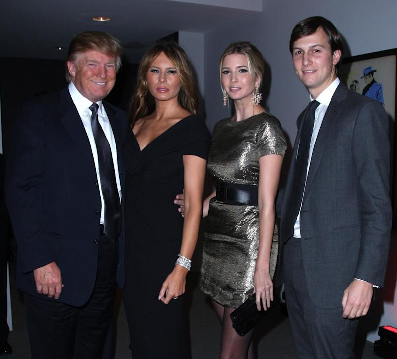 Donald Trump, Melania Trump, Ivanka Trump and Jared Kushner at the Museum of Modern Art on Nov. 10, 2008 in New York City.