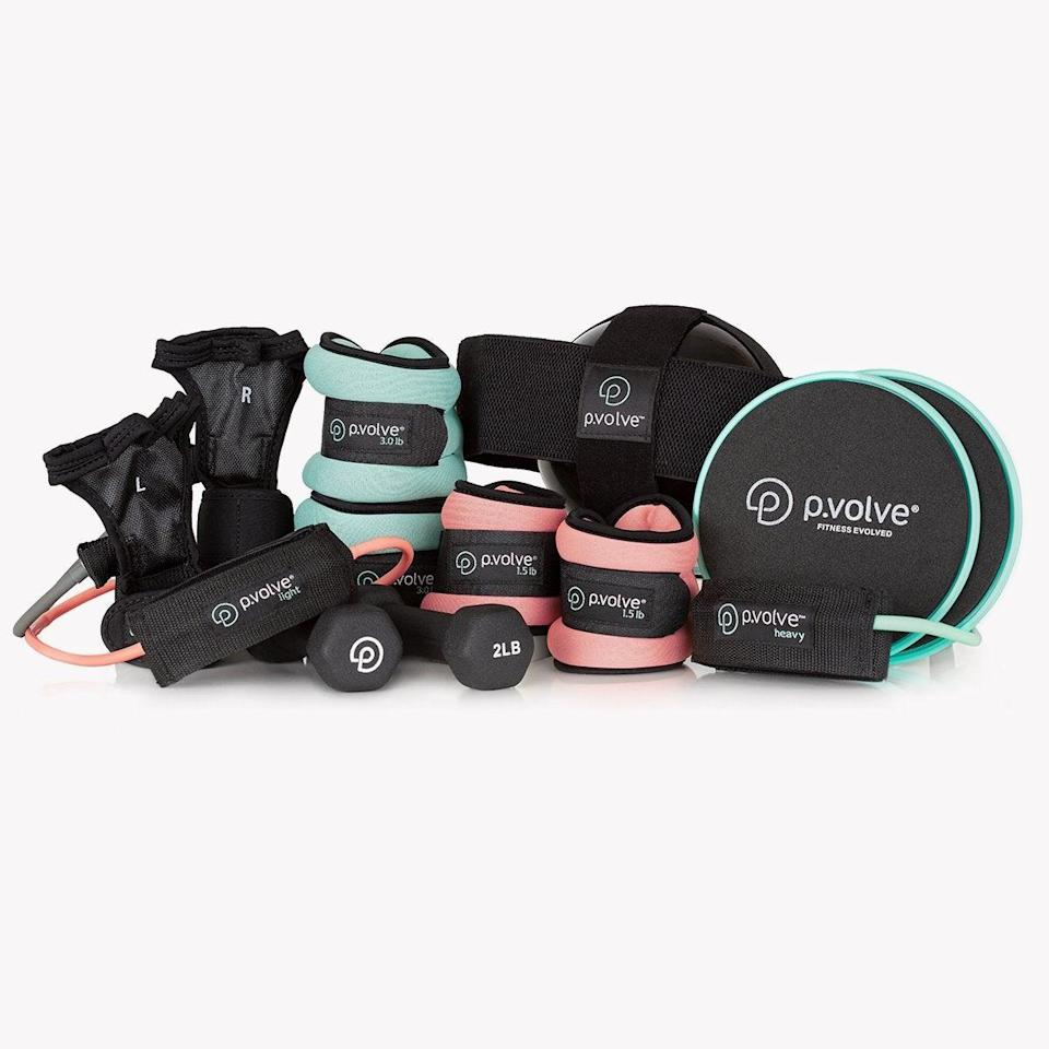 "<h3>P.volve ultimate p.volve package</h3> <br>If you want to get moving from the comfort of your home (or you know, don't plan on blowing your infant's ears out with SoulCycle beats), investing in some <a href=""https://www.refinery29.com/en-us/home-gym-equipment-small-spaces"" rel=""nofollow noopener"" target=""_blank"" data-ylk=""slk:basic at-home workout items"" class=""link rapid-noclick-resp"">basic at-home workout items</a> (or an all-in-one starter pack like this P.volve one) can transform your living room into a fitness oasis.<br><br><strong>P.volve</strong> ultimate p.volve package, $, available at <a href=""https://go.skimresources.com/?id=30283X879131&url=https%3A%2F%2Fwww.pvolve.com%2Fproducts%2Fultimate-p-volve-package-1"" rel=""nofollow noopener"" target=""_blank"" data-ylk=""slk:P.volve"" class=""link rapid-noclick-resp"">P.volve</a><br>"