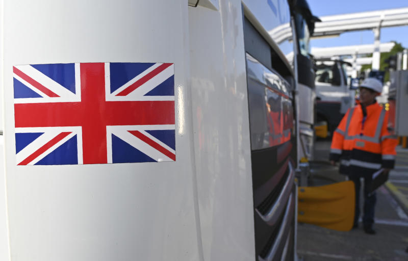 "An employee of Eurotunnel checks a British truck on its way to France during a day of test in case of no deal Brexit at the entrance of the Channel tunnel in Folkestone, Tuesday, Sept. 17, 2019. British Prime Minister Boris Johnson has said after a meeting with European Commission President Jean-Claude Juncker that ""there is a good chance"" of a Brexit deal with the European Union. (Denis Charlet, Pool via AP)"