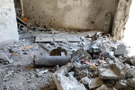 The inside of a house damaged by shelling during the fighting between the eastern forces and internationally recognized government is pictured in Abu Salim in Tripoli, Libya April 15, 2019. REUTERS/Hani Amara