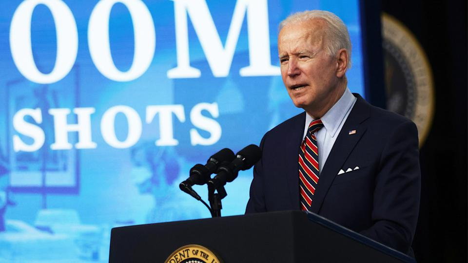 U.S. President Joe Biden delivers remarks on the COVID-19 response and the state of vaccinations at the South Court Auditorium of Eisenhower Executive Office Building on April 21, 2021 in Washington, DC. (Alex Wong/Getty Images)