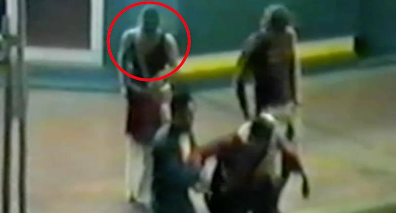 CCTV shows Simone Strobel (circled) with a group outside the Gollan Hotel in Lismore in 2005. Source: NSW Police