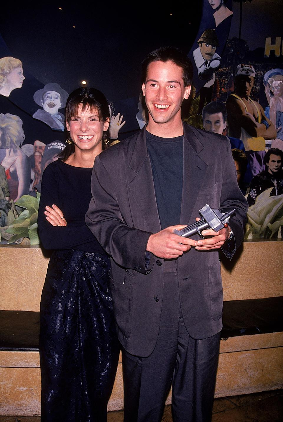 """Sandra Bullock and Reeves at a party for their movie """"Speed."""""""