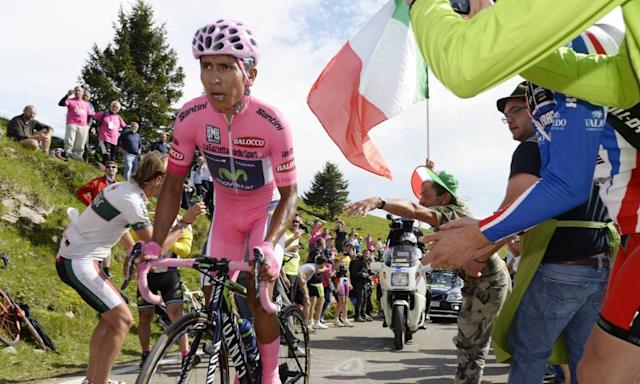 """<span class=""""element-image__caption"""">Nairo Quintana in action during the 2014 Giro d'Italia. The Colombian is a leading contender to win this year's centenary race, which begins on Friday.</span> <span class=""""element-image__credit"""">Photograph: Fabio Ferrari/AP</span>"""