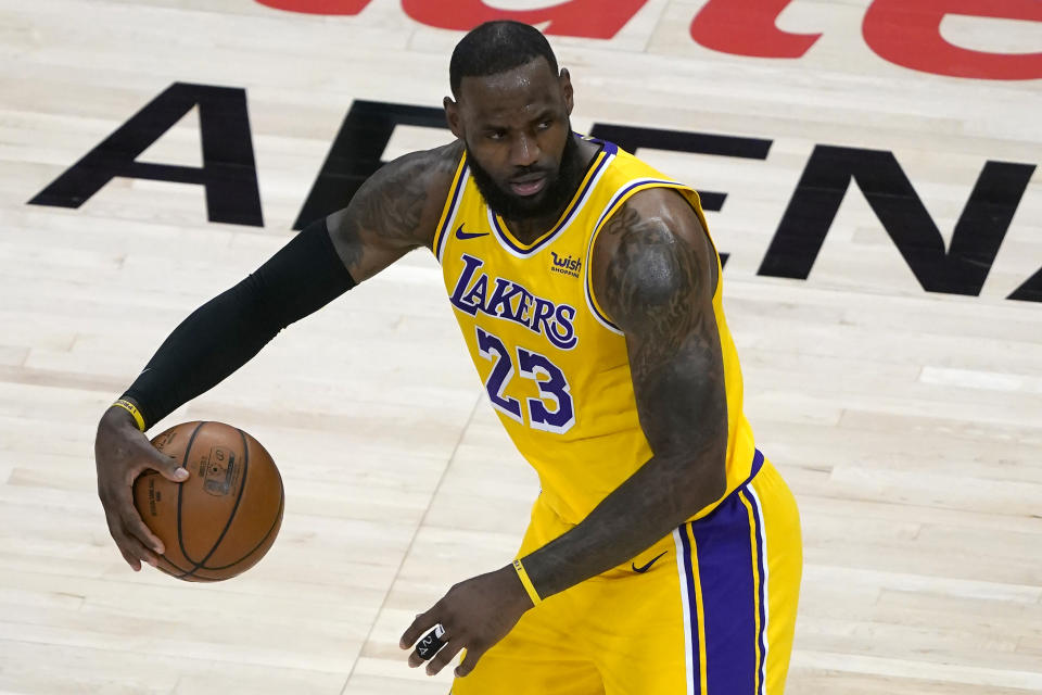 Los Angeles Lakers forward LeBron James (23) is shown against the Atlanta Hawks in the second half of an NBA basketball game Monday, Feb. 1, 2021, in Atlanta. (AP Photo/John Bazemore)