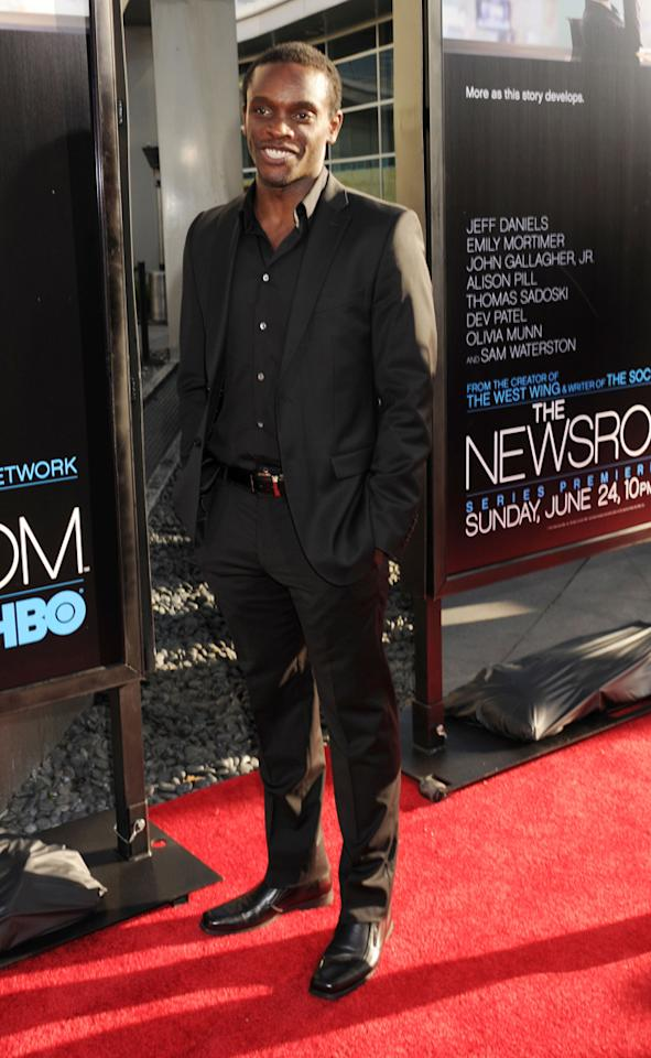 "Chris Chalk arrives at the Los Angeles premiere of HBO's ""The Newsroom"" at ArcLight Cinemas Cinerama Dome on June 20, 2012 in Hollywood, California."