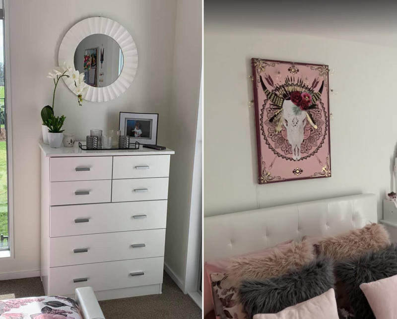 The picture hanging over Brooklynn's bed was already in the room, so Emma incorporated the colours into the rest of the room. Photo: Supplied