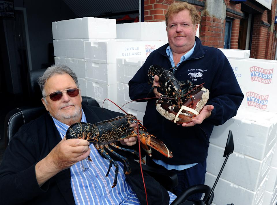 Mick and Sam Baron. The company is closing after 40 years of exporting lobsters and crabs to the EU, citing Brexit red tape. (SWNS)