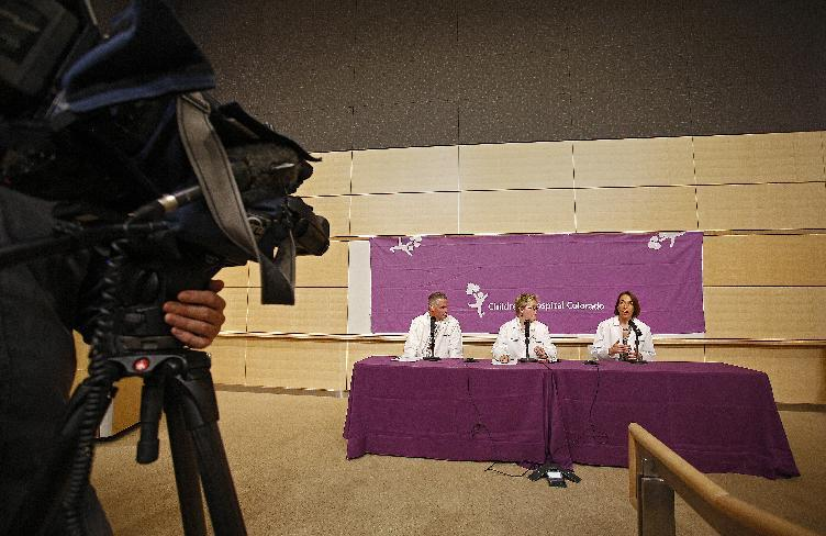 Children's Hospital Colorado experts discuss the condition of 10 patients with respiratory enterovirus EV-D68 and the disease's potential link to muscle weakness on September 30, 2014 in Aurora, Colorado (AFP Photo/Marc Piscotty)