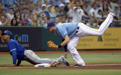 Toronto Blue Jays' Anthony Gose, left, safely advances to third base on a fly-out by Jose Bautista as Tampa Bay Rays third baseman Evan Longoria, right, is late with the tag during the fourth inning of a baseball game in St. Petersburg, Fla., Sunday, Aug. 18, 2013. (AP Photo/Phelan M. Ebenhack)