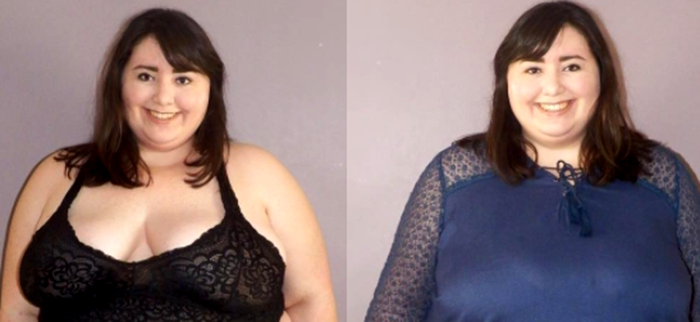 Two photos of Lexi: One in a bra top and one in a dress.