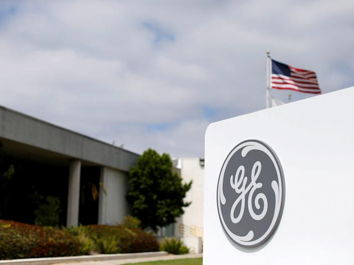 "The logo of General Electric is shown at its subsidiary company GE Aviation in Santa Ana, California on April 13, 2016. <p class=""copyright"">Mike Blake/Reuters</p>"