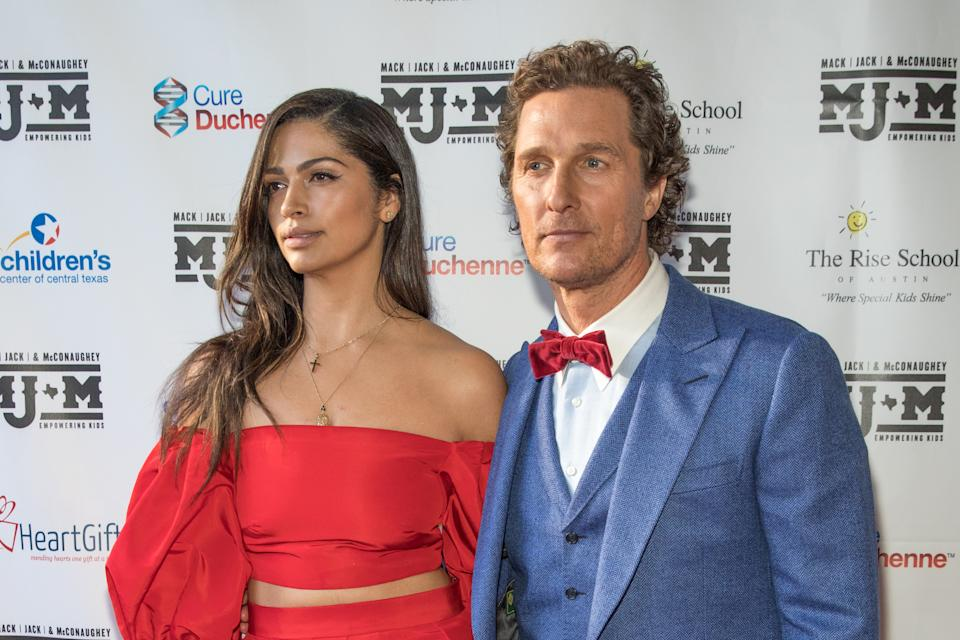 AUSTIN, TEXAS - APRIL 25: Camila Alves and Matthew McConaughey arrive at the Mack, Jack & McConaughey charity gala at ACL Live on April 25, 2019 in Austin, Texas. (Photo by Rick Kern/WireImage)