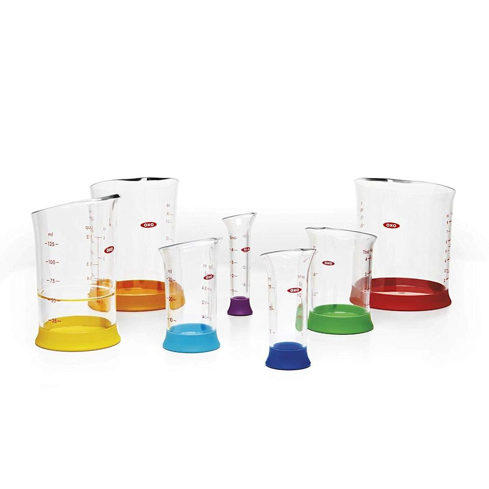 <p>This colorful <span>Oxo Good Grips 7-Piece Nesting Measuring Beaker Set</span> ($20) will make meal prepping fun.</p>