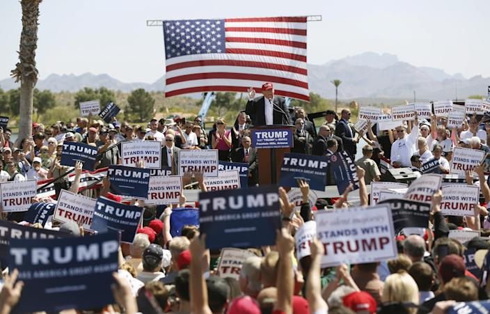 Then-Republican U.S. presidential candidate Donald Trump speaks at a campaign rally in Fountain Hills, Ariz., March 19, 2016. (Photo: Mario Anzuoni/Reuters)