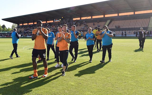 """Soccer Football - League Two - Barnet vs Chesterfield - The Hive, London, Britain - May 5, 2018 Barnet players applaud their fans after the match as they are relegated from the Football League Action Images/Adam Holt EDITORIAL USE ONLY. No use with unauthorized audio, video, data, fixture lists, club/league logos or """"live"""" services. Online in-match use limited to 75 images, no video emulation. No use in betting, games or single club/league/player publications. Please contact your account representative for further details."""