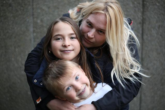 The two children, pictured with their mother Charlotte, 30, are forced to live on £5 a day while they wait for their Universal Credit to come through. (Channel 4)