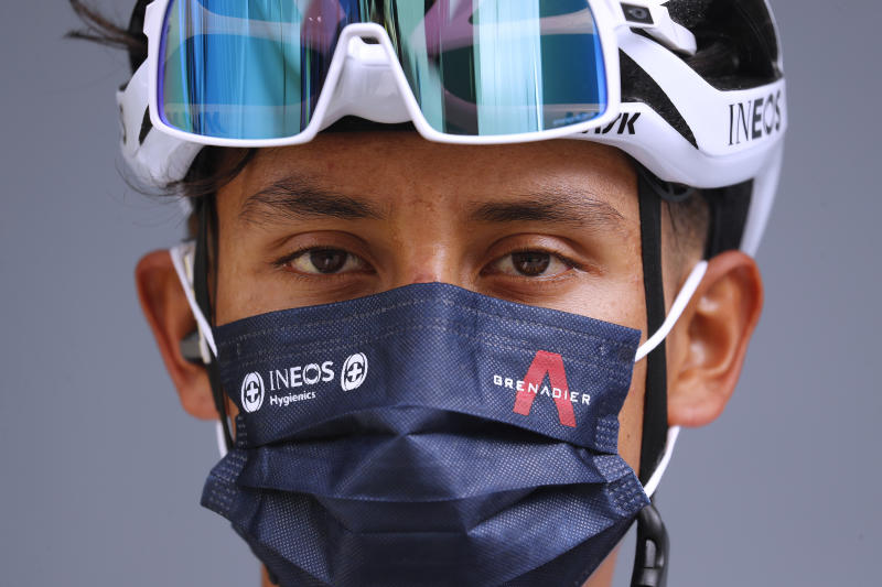 SARRAN CORRÈZE, FRANCE - SEPTEMBER 10: Start / Egan Arley Bernal Gomez of Colombia and Team INEOS Grenadiers / Mask / Covid Safety Measures / Detail view / during the 107th Tour de France 2020, Stage 12 a 218km stage from Chauvigny to Sarran Corrèze 658m / #TDF2020 / @LeTour / on September 10, 2020 in Sarran Corrèze, France. (Photo by Thibault Camus -