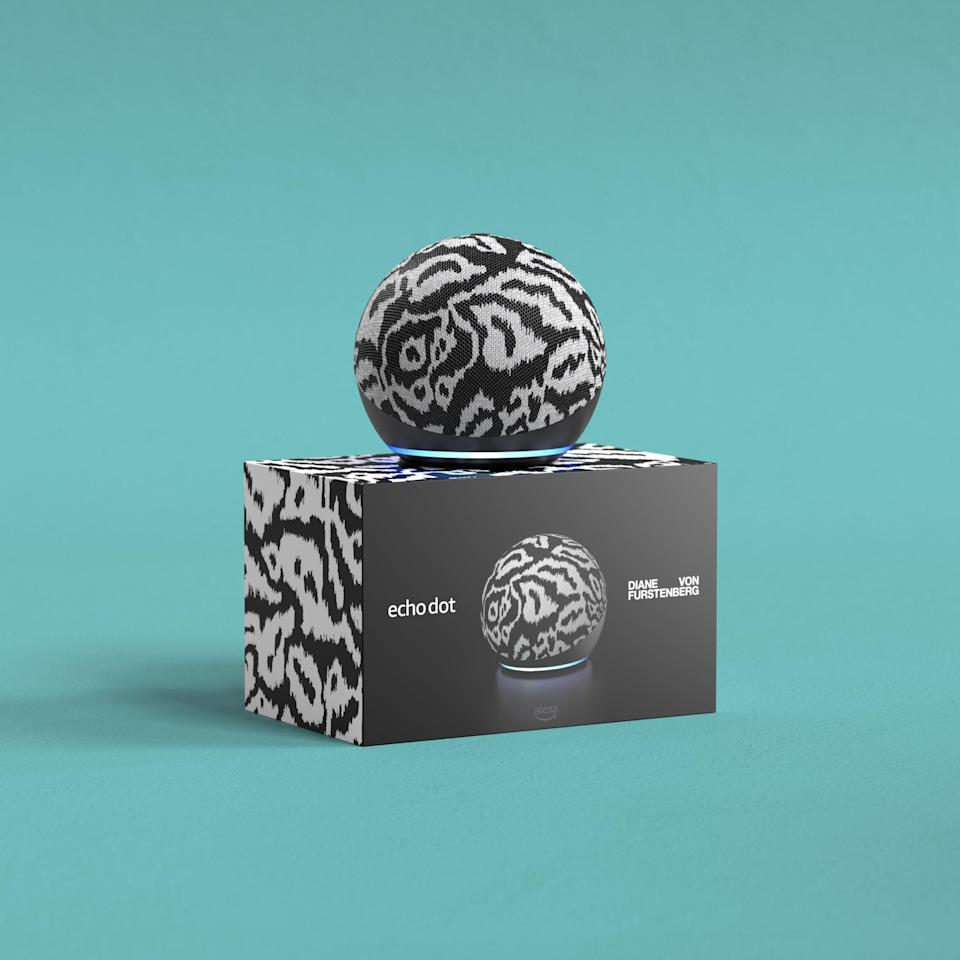 """<p>Whether you have a sleek or abstract aesthetic, this <span>Echo Dot (4th Gen) Limited Edition Diane von Furstenberg in Ikat </span> ($60) is a design that will look good with most decor. Whether it's your kitchen counter or your bedside table, Alexa will be able to help you out and look fabulous. Just ask Alexa to turn on lights, adjust thermostats, and lock doors with compatible devices. Use your voice to set your favorite song as your alarm. Create custom Routines in the Alexa app to get mornings moving, automatically. You can start them either by saying """"Good Morning, Alexa"""", an alarm, or a time. </p>"""