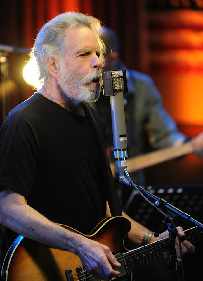 "Bob Weir of Furthur and The Grateful Dead performs during the Yahoo! Music Presents ""The Bridge Session"" sponsored by Headcount at TRI Studios on March 24, 2012 in San Rafael, California."