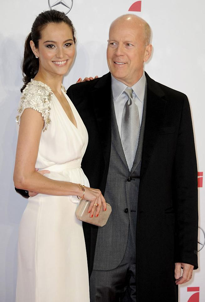 BERLIN, GERMANY - FEBRUARY 04:  Emma Willis and Bruce Willis attend the premiere of 'Die Hard - Ein Guter Tag Zum Sterben' at Sony Center on February 4, 2013 in Berlin, Germany.  (Photo by Luca Teuchmann/WireImage)