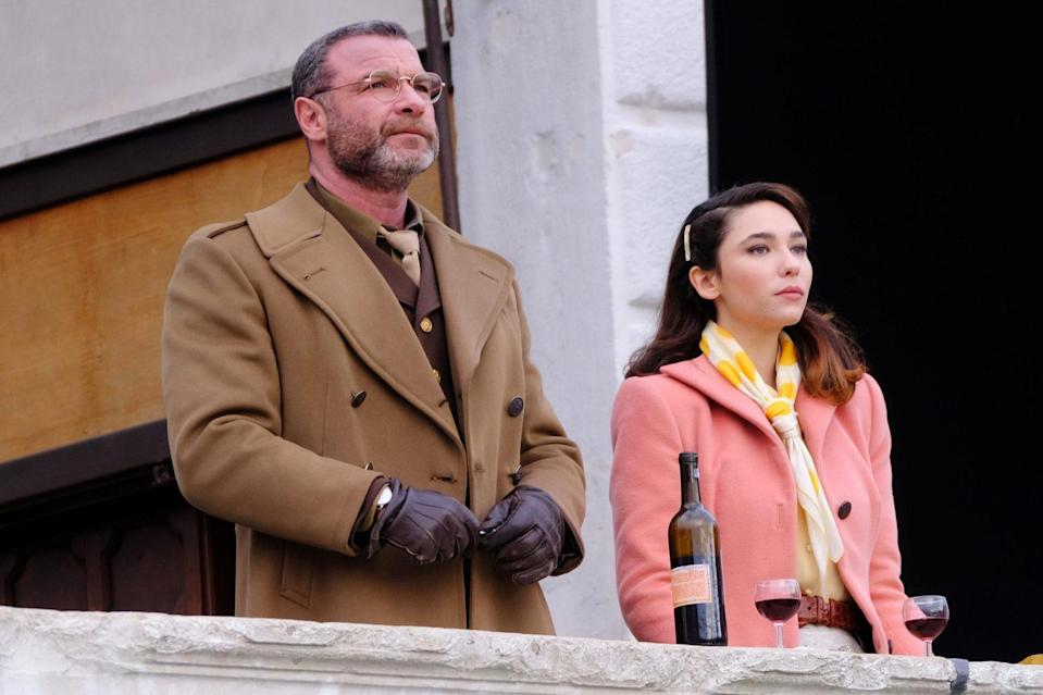 <p>Liev Schreiber and Matilda De Angelis film on the set of <em>Across the River and into the Trees</em> on Sunday in Venice Italy.</p>