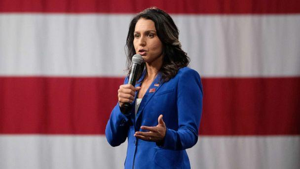 PHOTO: Representative Tulsi Gabbard, a Democrat from Hawaii and 2020 presidential candidate, speaks during the Everytown for Gun Safety Presidential Gun Sense Forum, in Des Moines Iowa, U.S., on Saturday, Aug. 10, 2019. (Alex Wroblewski/Bloomberg via Getty Images)