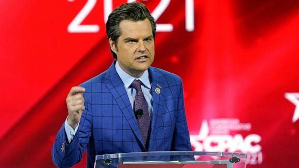 PHOTO: In this Feb. 26, 2021, file photo Rep. Matt Gaetz, R-Fla., speaks at the Conservative Political Action Conference (CPAC) in Orlando, Fla. (John Raoux/AP, FILE)