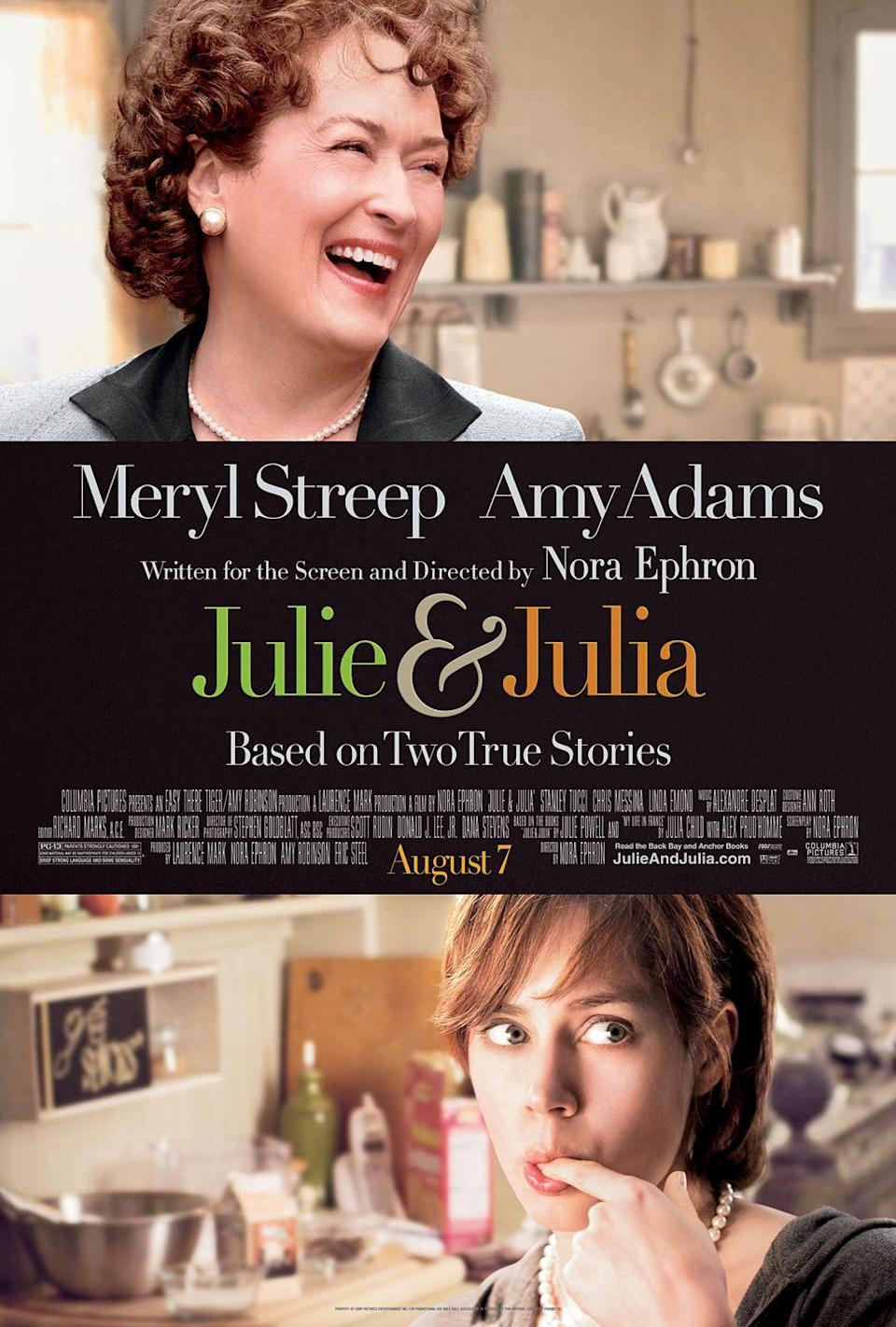 """<p><a class=""""link rapid-noclick-resp"""" href=""""https://www.amazon.com/Julie-Julia-Meryl-Streep/dp/B0094LTWDM/ref=sr_1_1?dchild=1&keywords=julie+and+julia&qid=1614179983&sr=8-1&tag=syn-yahoo-20&ascsubtag=%5Bartid%7C10067.g.15907978%5Bsrc%7Cyahoo-us"""" rel=""""nofollow noopener"""" target=""""_blank"""" data-ylk=""""slk:Watch Now"""">Watch Now</a></p><p>This feel good comedy starring Amy Adams and Meryl Streep is based on Julie Powell's daily blog, where she documented her attempt to recreate each of Julia Child's recipes from her cookbook """"Mastering The Art Of French Cooking"""" (all 524 of them). Foodies and aspiring home cooks alike will love this upbeat classic. </p>"""