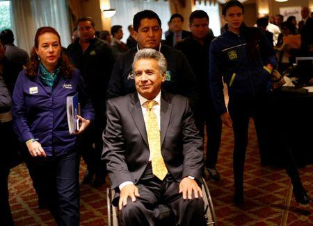 Lenin Moreno, presidential candidate of the ruling PAIS Alliance Party, arrives to gives a speech to the media in Quito