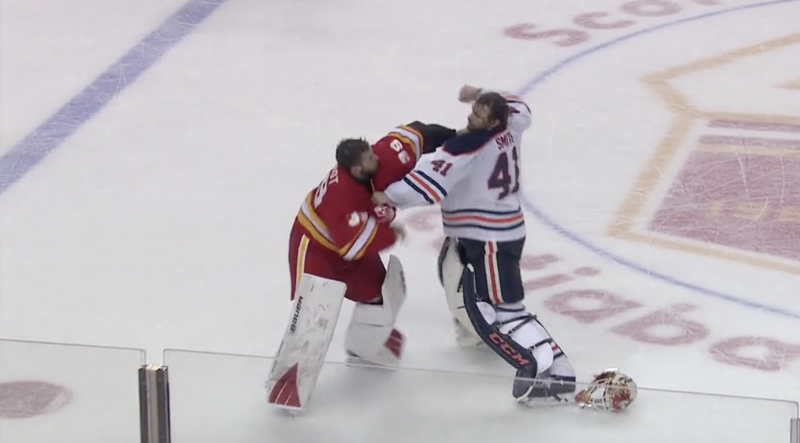 A goalie fight is pure chaos. (Sportsnet/NHLtv)