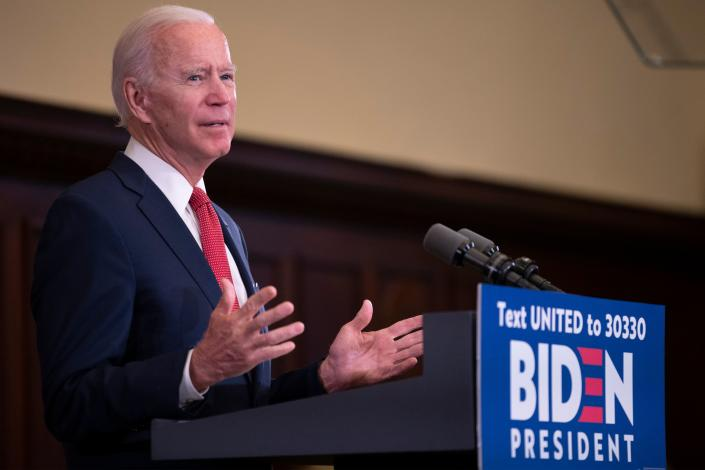 """Former vice president and Democratic presidential candidate Joe Biden speaks about the unrest across the country from Philadelphia City Hall on June 2, 2020, in Philadelphia, Pennsylvania, contrasting his leadership style with that of US President Donald Trump, and calling George Floyd's death """"a wake-up call for our nation."""" (Jim Watson/AFP via Getty Images)"""