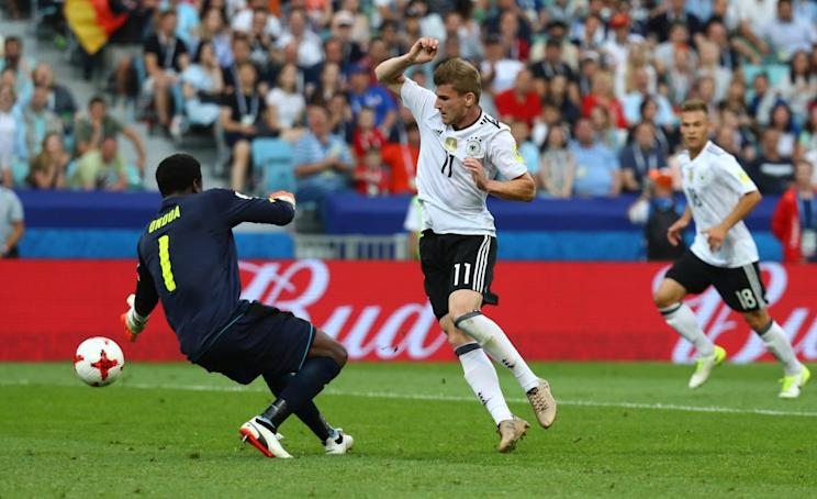 Timo Werner (11) scored twice to lead Germany to the top of Group B and into the semifinals in Russia. (EFE)