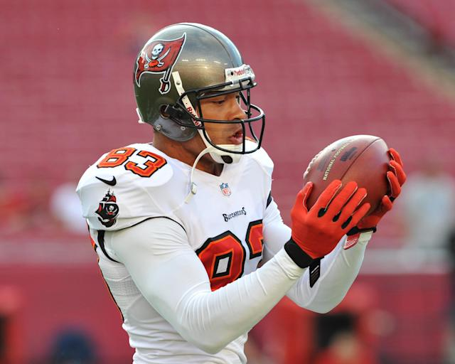 TAMPA, FL - AUGUST 29: Wide receiver Vincent Jackson #83 of the Tampa Bay Buccaneers grabs a warmup pass before play against the Washington Redskins August 29, 2013 at Raymond James Stadium in Tampa, Florida. (Photo by Al Messerschmidt/Getty Images)
