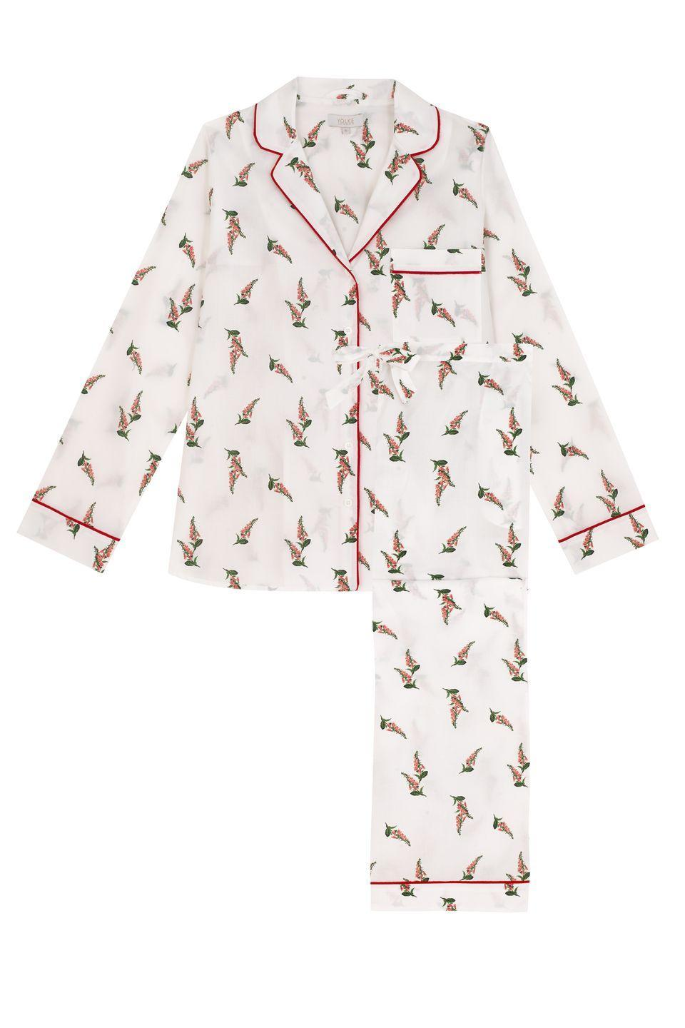 """<p>Yolke is synonymous with luxuriously soft and comfortable sleepwear that is smart enough to be worn during the day. This foxglove patterned pyjama set, made from cotton with a festive red grosgrain trim, would make a sweet surprise under the tree on Christmas morning. KP</p><p>£95, <a href=""""https://www.yolke.co.uk/collections/the-christmas-shop-1/products/foxglove-print-cotton-pyjama-set"""" rel=""""nofollow noopener"""" target=""""_blank"""" data-ylk=""""slk:Yolke"""" class=""""link rapid-noclick-resp"""">Yolke</a></p>"""