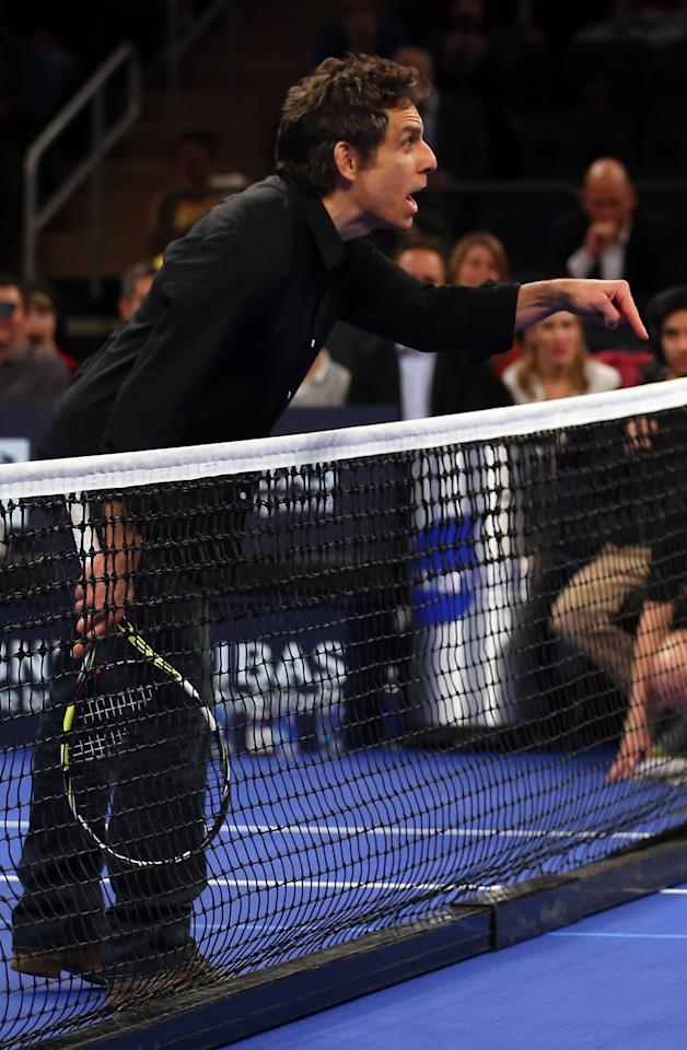 NEW YORK, NY - MARCH 04:  Actor Ben Stiller talks as he plays doubles with Rafael Nadal of Spain in the second set against Juan del Potro of Argentina during the BNP Paribas Showdown on March 4, 2013 at Madison Square Garden in New York City.  (Photo by Elsa/Getty Images)