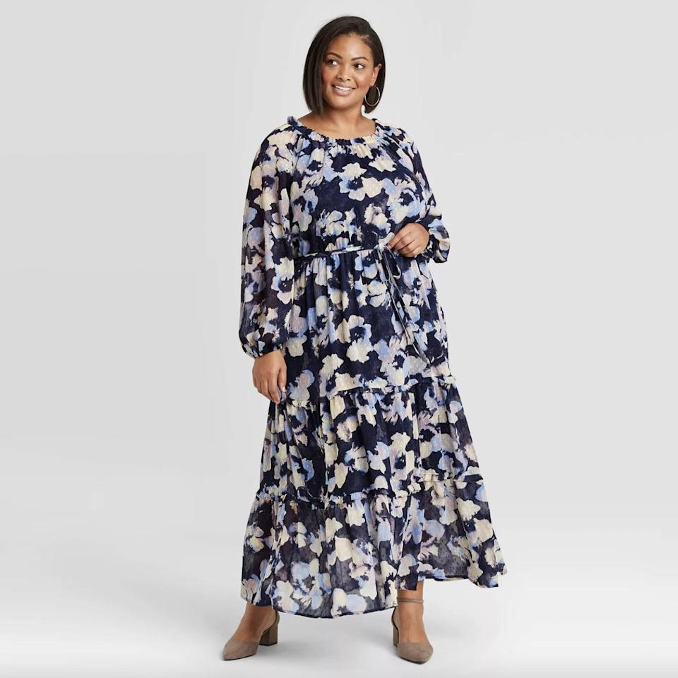 <p>This <span>Ava &amp; Viv Floral Print Long Sleeve Tiered Dress </span> ($30) has a fresh and spring-ready silhouette.</p>