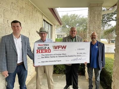 Sport Clips Haircuts donates more than $1 million for VFW for Help A Hero Scholarships. (l to r) Edward Logan, president & CEO of Sport Clips Haircuts; Gordon Logan, Sport Clips founder & chairman; Hal Roesch, VFW national commander; and Richard Potter, VFW Foundation president.