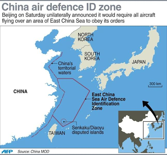 Map showing the extent of China's new air defence zone over the East China Sea
