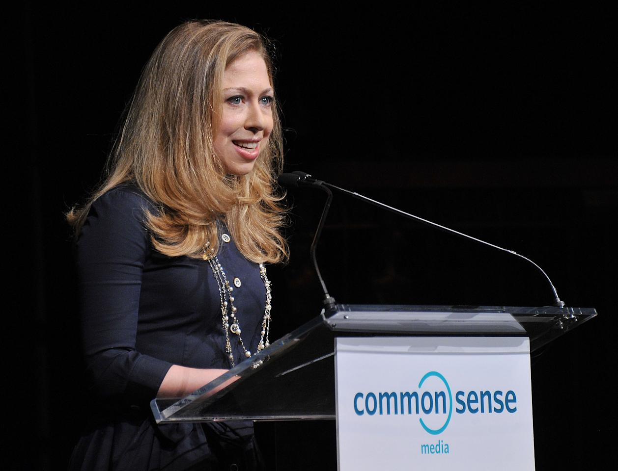 NEW YORK, NY - APRIL 28:  Chelsea Clinton speaks at the 7th Annual Common Sense Media Awards honoring Bill Clinton at Gotham Hall on April 28, 2011 in New York City.  (Photo by Stephen Lovekin/Getty Images for Common Sense Media)